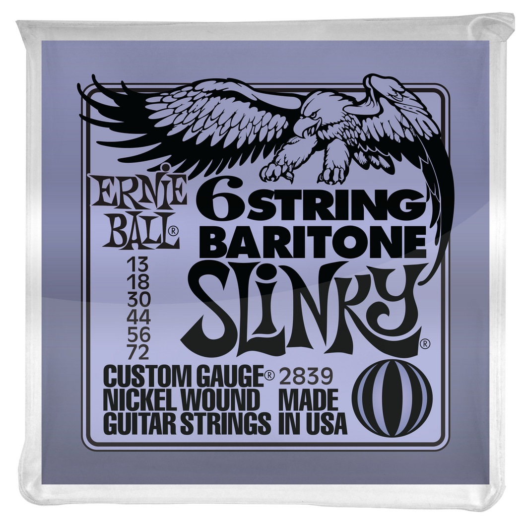 Ernie Ball Slinky 29-5/8 Scale Nickel Wound 6 String Baritone Guitar Strings