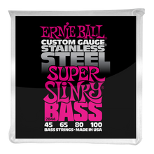 Load image into Gallery viewer, Ernie Ball Super Slinky Stainless Steel Electric Bass Strings 45-100