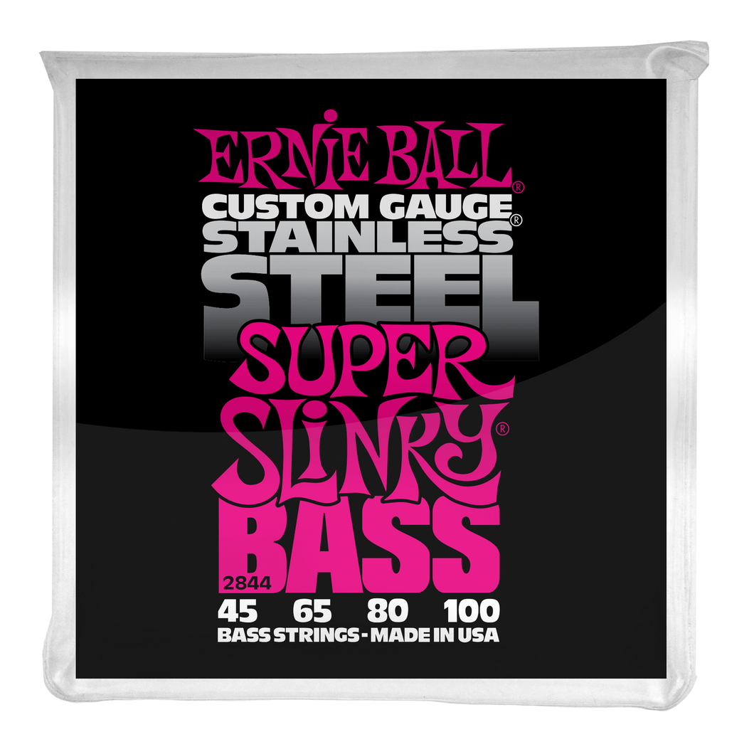 Ernie Ball Super Slinky Stainless Steel Electric Bass Strings 45-100