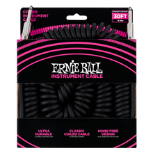 Load image into Gallery viewer, Ernie Ball 30ft  Black Vintage Classic Coiled Straight/Straight Instrument cable P06044