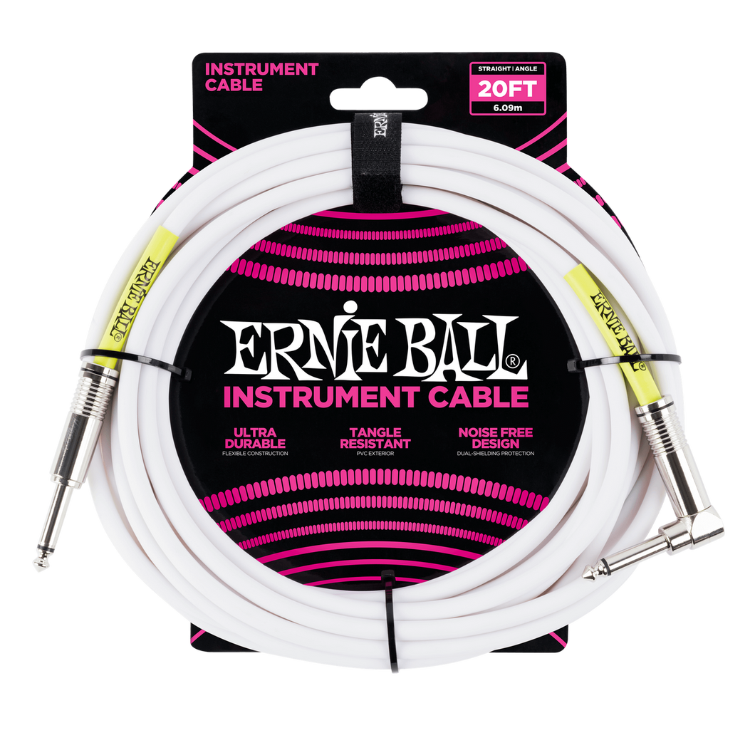Ernie Ball 20ft  White Straight/Angled Instrument cable P06047