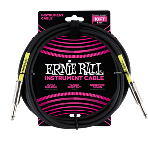 Ernie Ball 10ft  Black Straight/Straight Instrument cable P06048