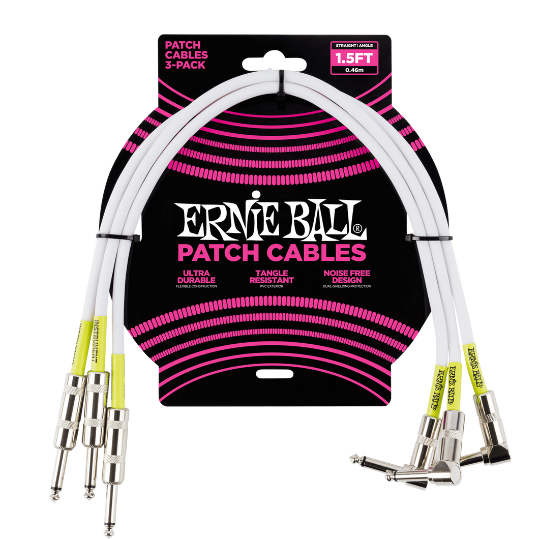 Ernie Ball 1.5ft Angle / Straight Patch Cable 3-Pack White P06056