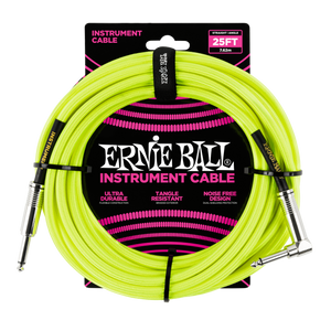 Ernie Ball 25' Braided Straight/Angle Neon Yellow Instrument cable P06057