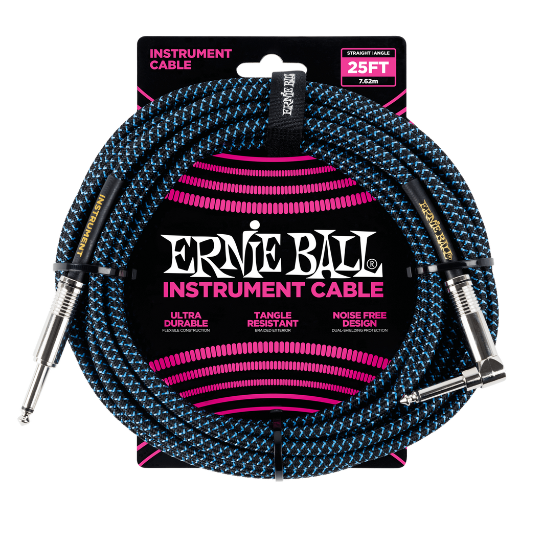 Ernie Ball 25ft  Black/Blue Braided Straight/Angle Instrument cable P06060