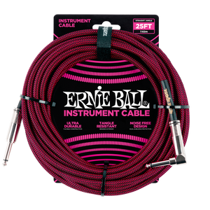 Ernie Ball 25ft  Black/Red Braided Straight/Angle Instrument cable P06062