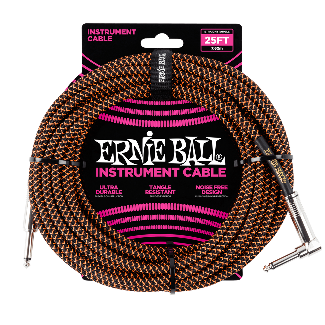 Ernie Ball 25ft  Black/Orange Braided Straight/Angle Instrument cable P06064