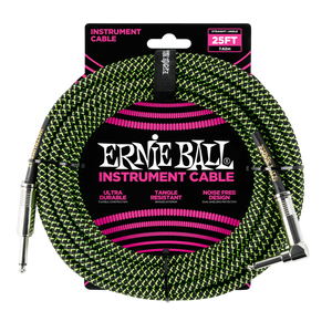 Ernie Ball 25ft  Black/Green Braided Straight/Angle Instrument cable P06066