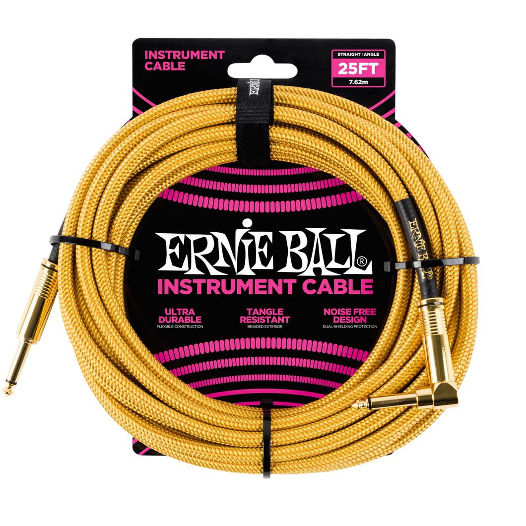 Ernie Ball 25ft  Gold Braided Straight/Angle Instrument cable P06070