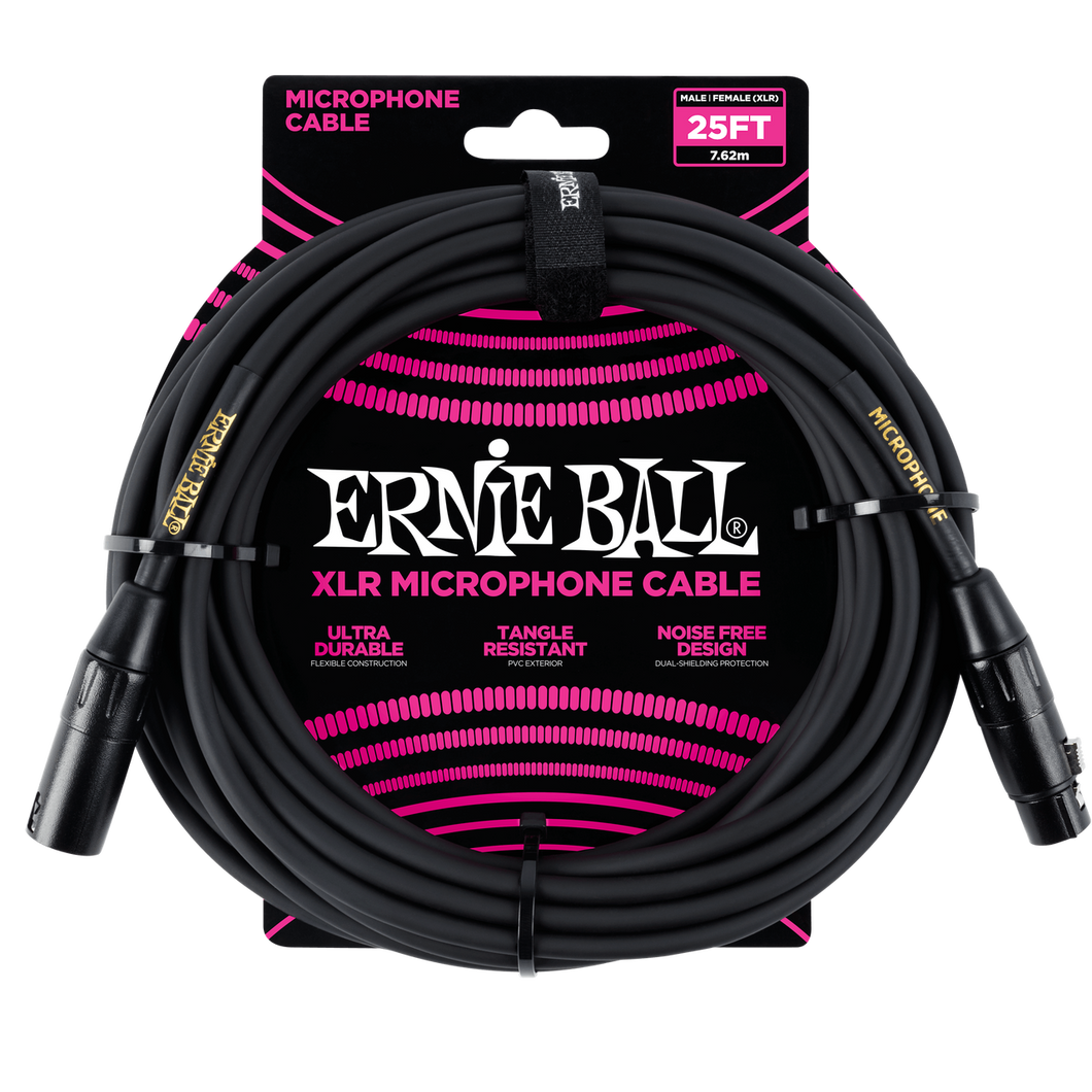 Ernie Ball 25ft  Male/Female XLR Mic Cable, Black P06073
