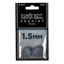 Load image into Gallery viewer, Genuine Ernie Ball 1.5 mm Black Mini Prodigy Picks 6-Pack P09200