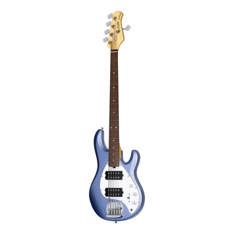 Sterling by Music Man Ray5 HH Stingray 5 String Bass, Lake Blue Metallic
