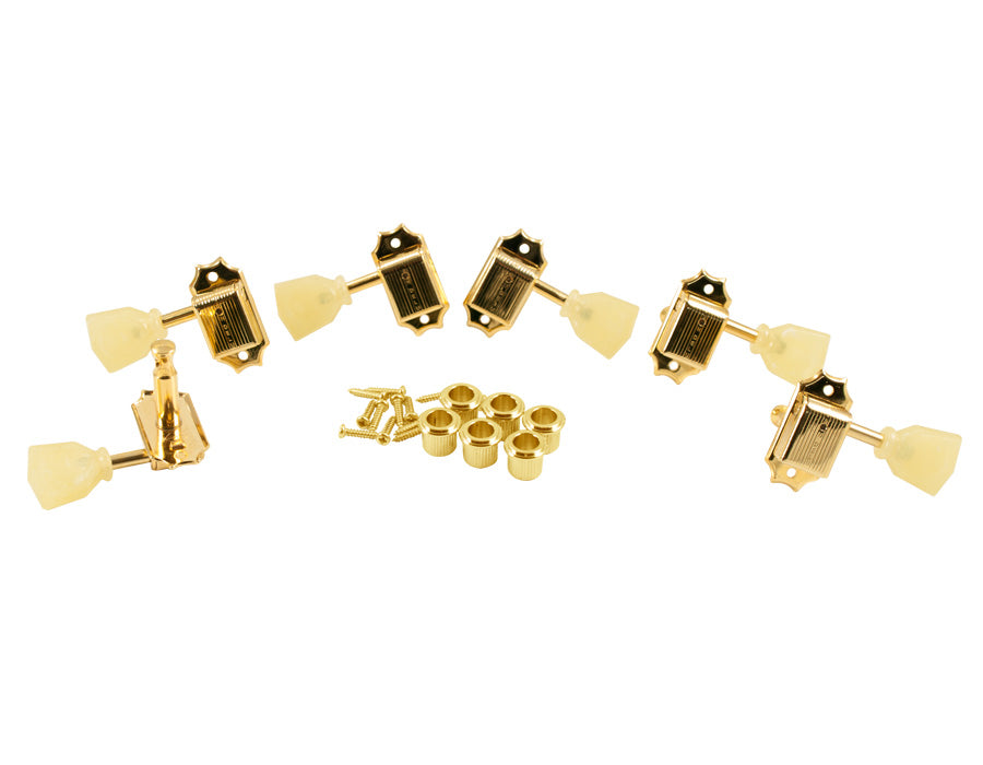 Kluson Traditional 3x3 Pearloid Single Ring, Single Line Gold SD90SLG