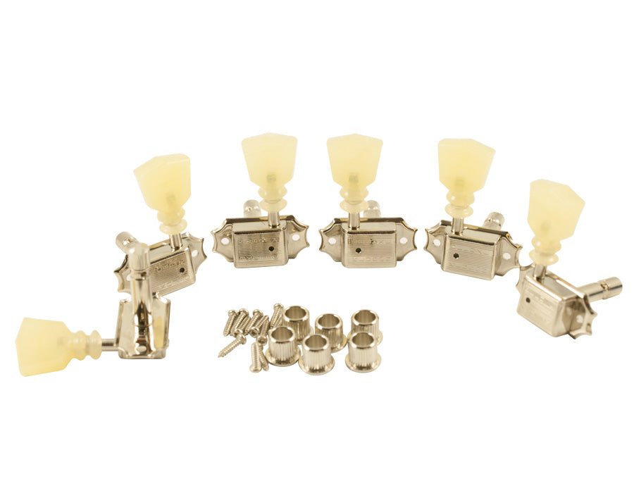 Kluson Trad Nickel 3x3 Locking Tuner with Pearloid Dbl ring button SD90SLN DR/L