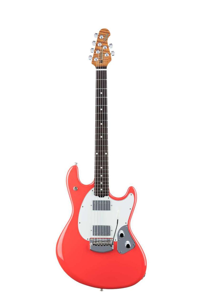 Ernie Ball Music Man USA Stingray RS Guitar HH Trem Coral Red/Rosewood w/case NEW