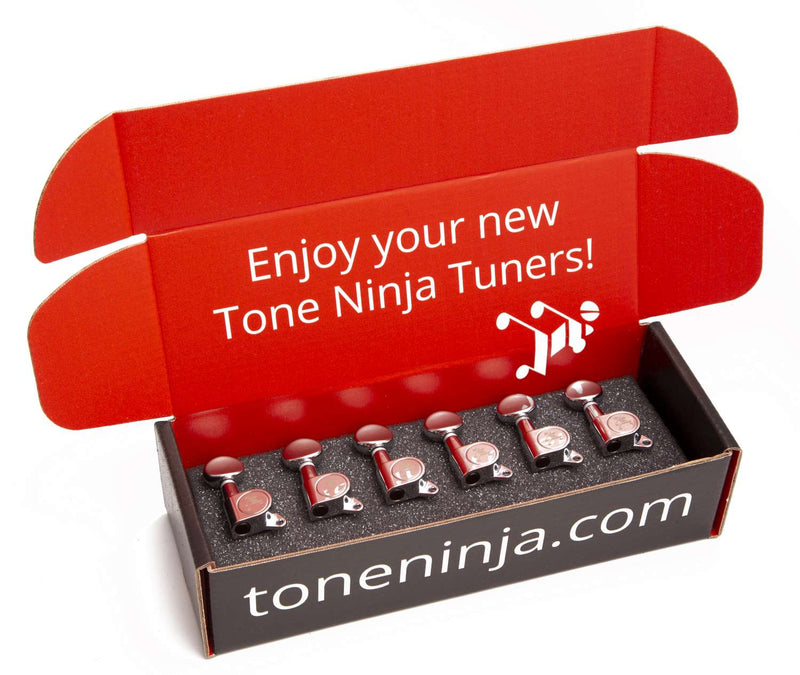 Genuine Tone Ninja Tuners, 6 Inline Staggered, Butterbean Button, Chrome