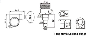 Genuine Tone Ninja 19:1 Locking Tuners, 8 String 4x4 set, Black