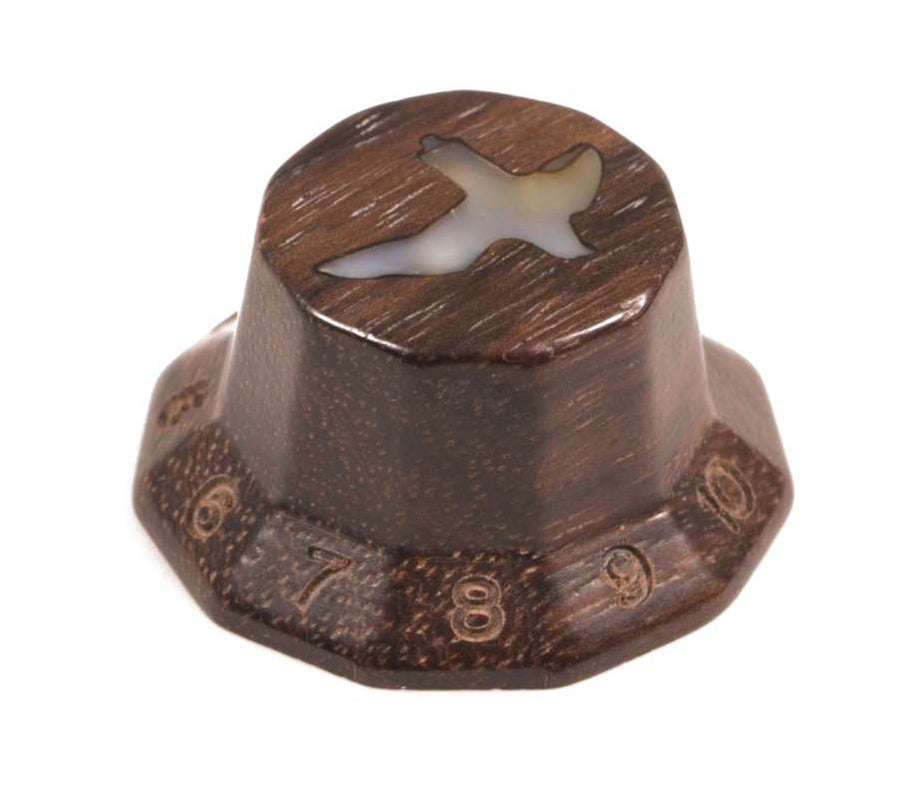Tone Ninja Faceted Knob polished East Indian Rosewood with inlaid Abalone Bird