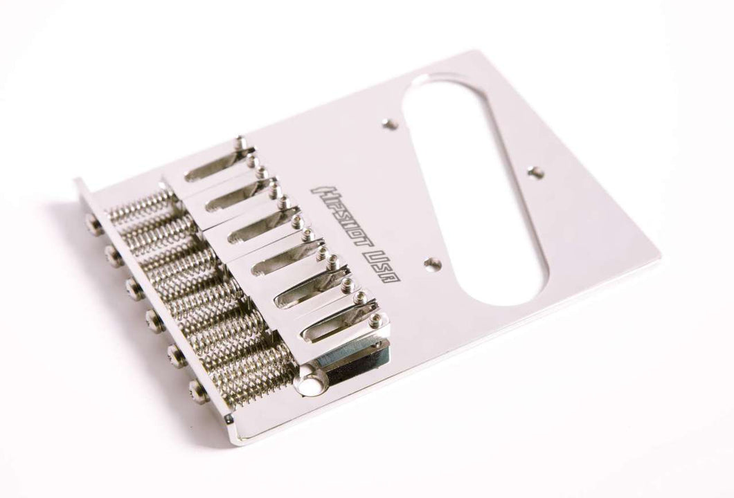 Hipshot Stainless Steel 6 Saddle Tele Bridge - 3 Hole mounting