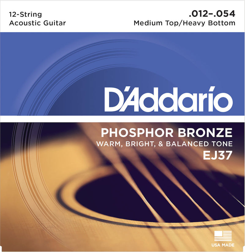 D'Addario EJ37 12-String  Acoustic Guitar Strings Med Top/Heavy Bottom 12-54