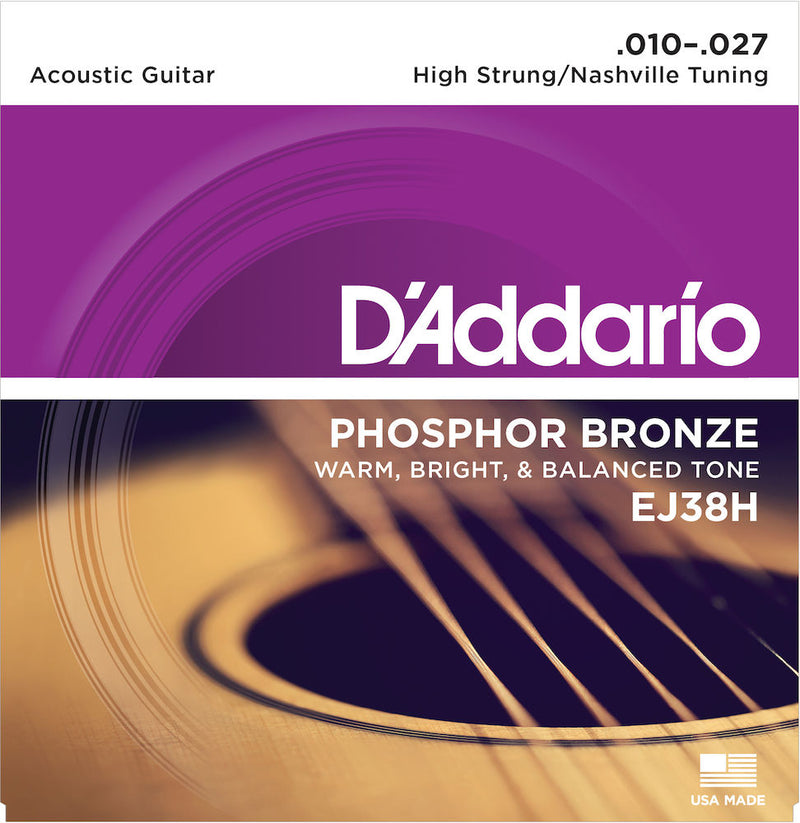 D'Addario EJ38H Acoustic Guitar Strings, High Strung/Nashville Tuning, 10-27