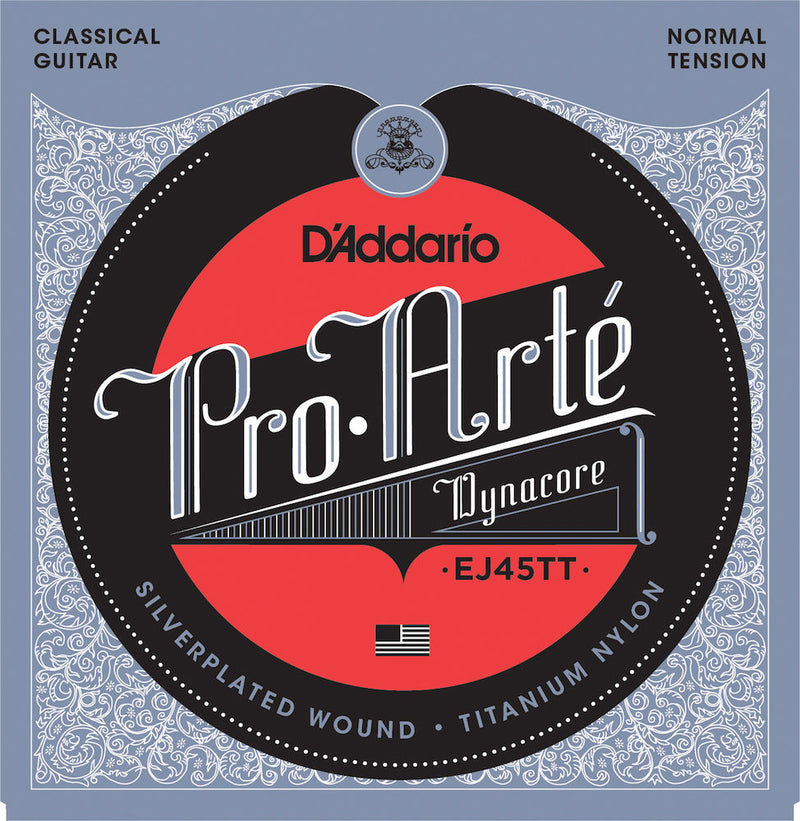 D'Addario EJ45TT ProArte Classical Guitar Strings Titanium Trebles Norm Tension