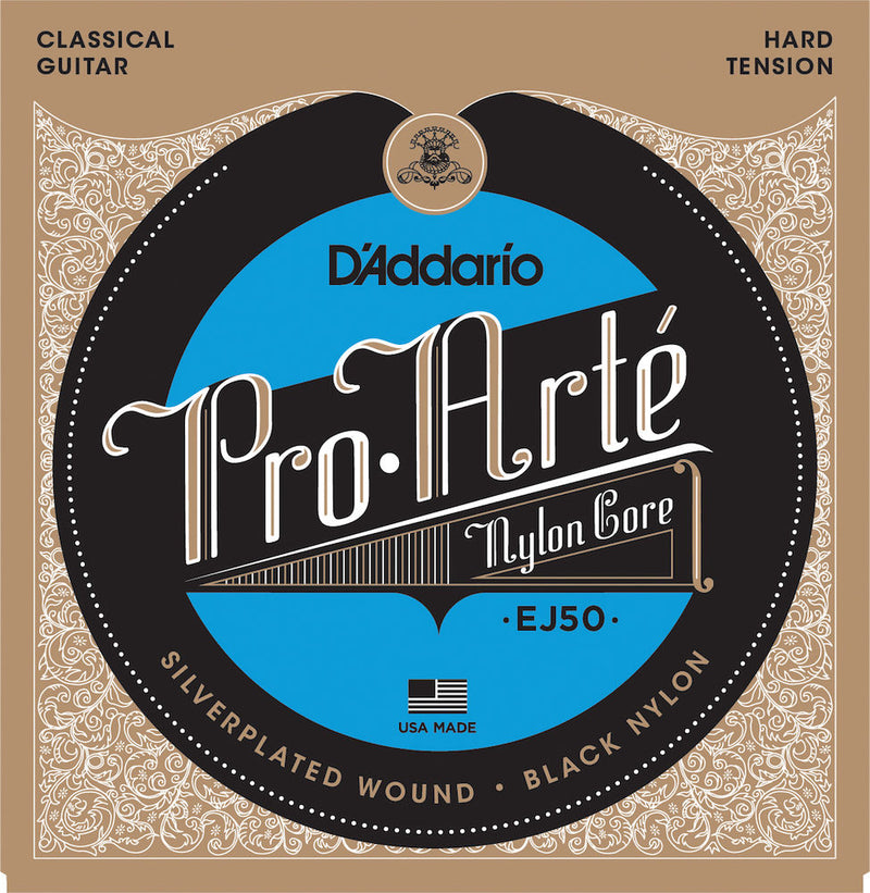D'Addario EJ50 Pro-Arte Black Nylon Classical Guitar Strings, Hard Tension