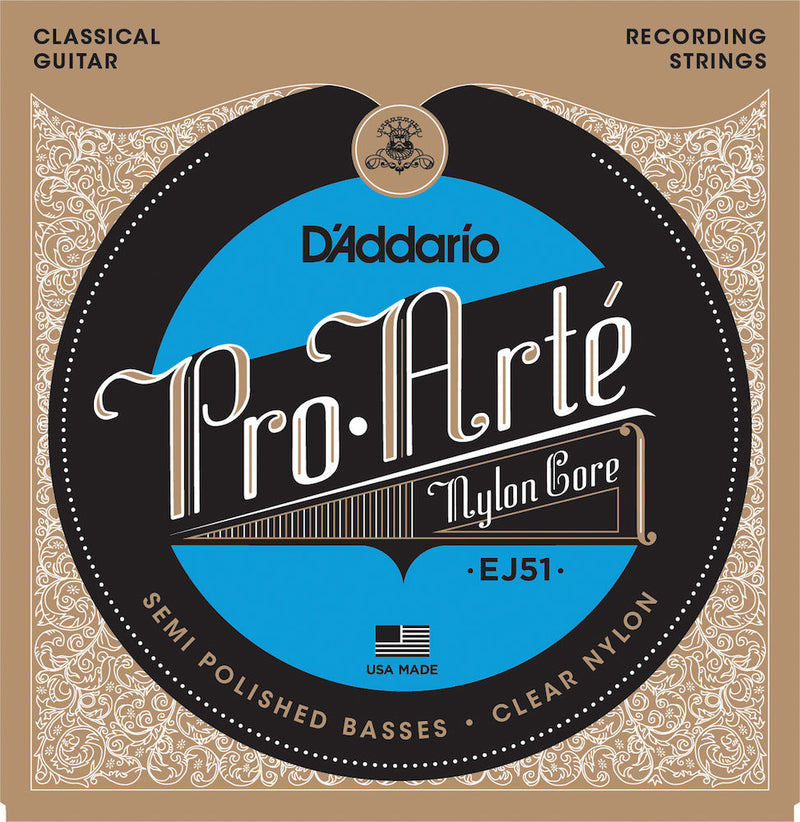D'Addario EJ51 Pro-Arte Classical Guitar Strings, Polished Basses Hard Tension