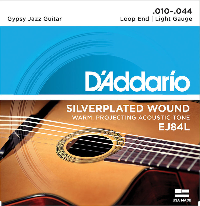 D'Addario EJ84L Gypsy Jazz Acoustic Guitar Strings, Loop End, Light, 10-44