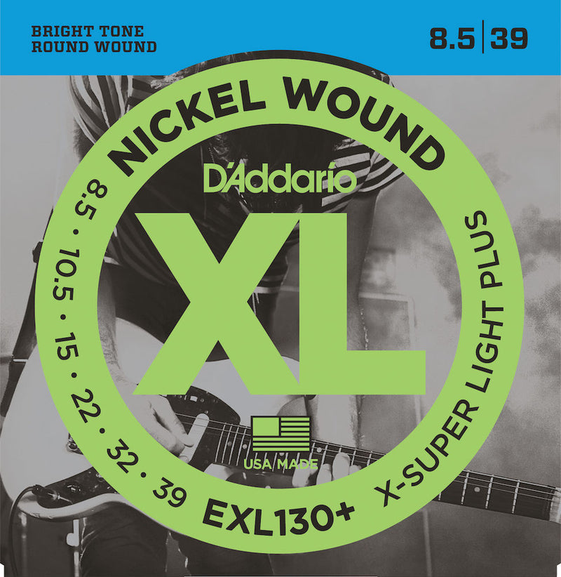 D'Addario EXL130+ Nickel Wound Guitar Strings, Extra-Super Light Plus, 8.5-39
