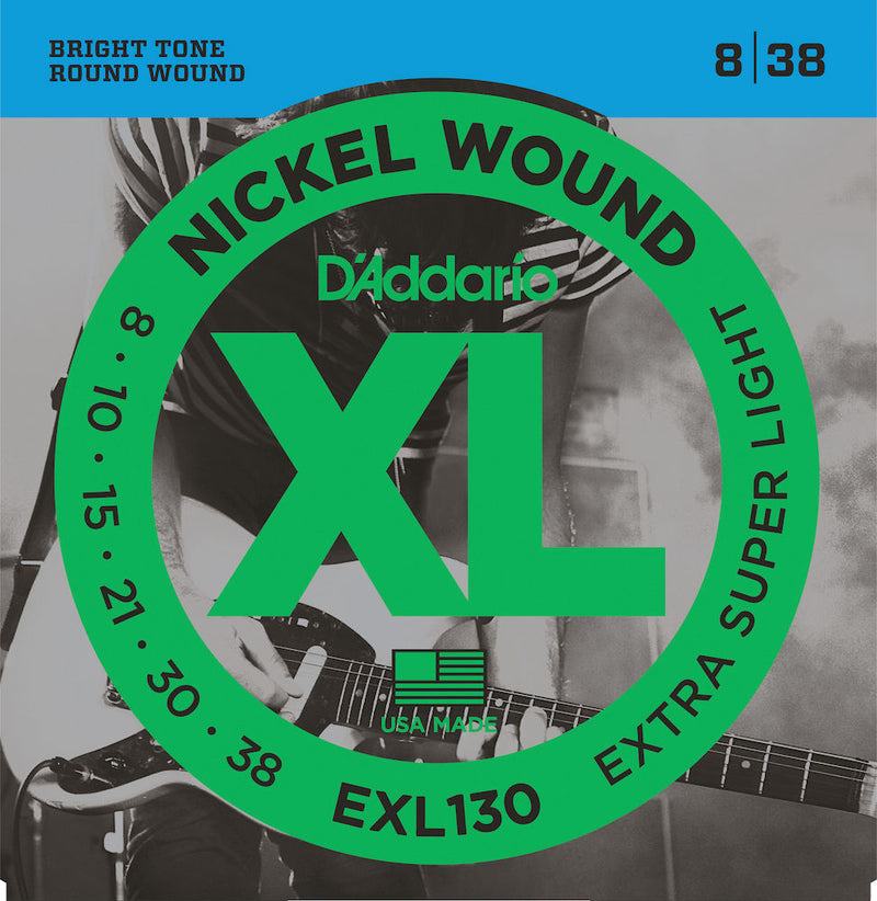 D'Addario EXL130 Nickel Wound Electric Guitar Strings, Extra-Super Light, 08-38