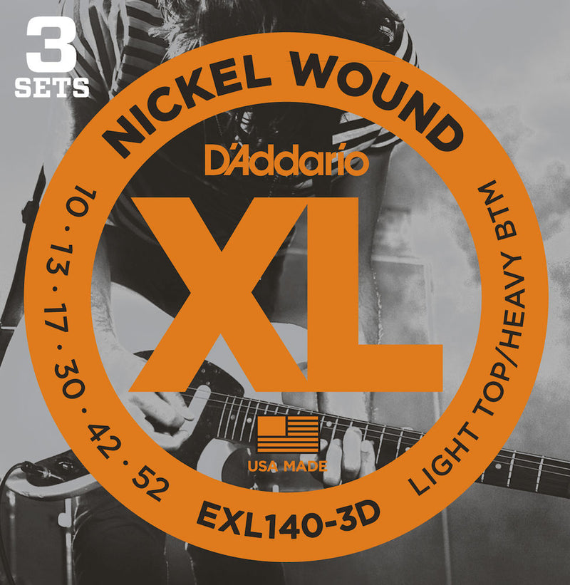 D'Addario EXL140-3D Guitar Strings Light Top/Heavy Bottom 10-52 3 sets