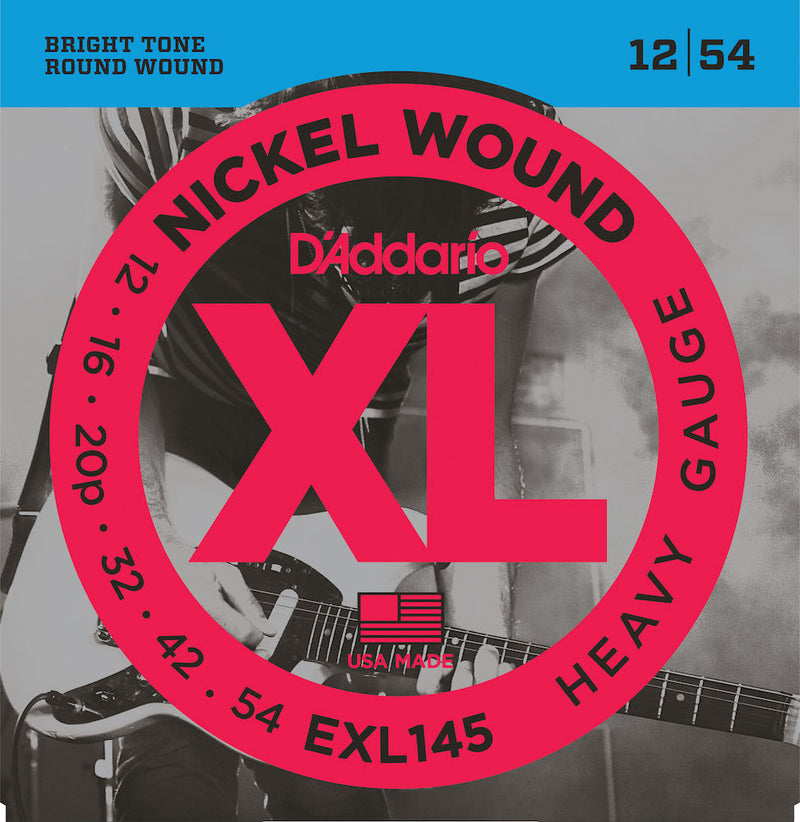 D'Addario EXL145 Nickel Wound Guitar Strings, Heavy, 12-54 with Plain 3rd
