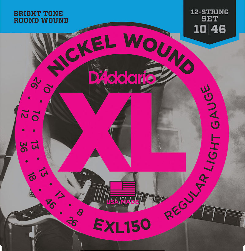 D'Addario EXL150 Nickel Wound Electric Guitar Strings, 12-String  Light, 10-46
