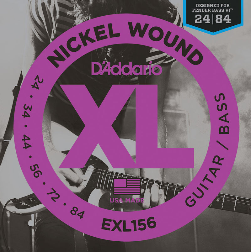 D'Addario EXL156 Nickel Wound Electric Guitar/ Bass Strings Fender Bass VI 24-84