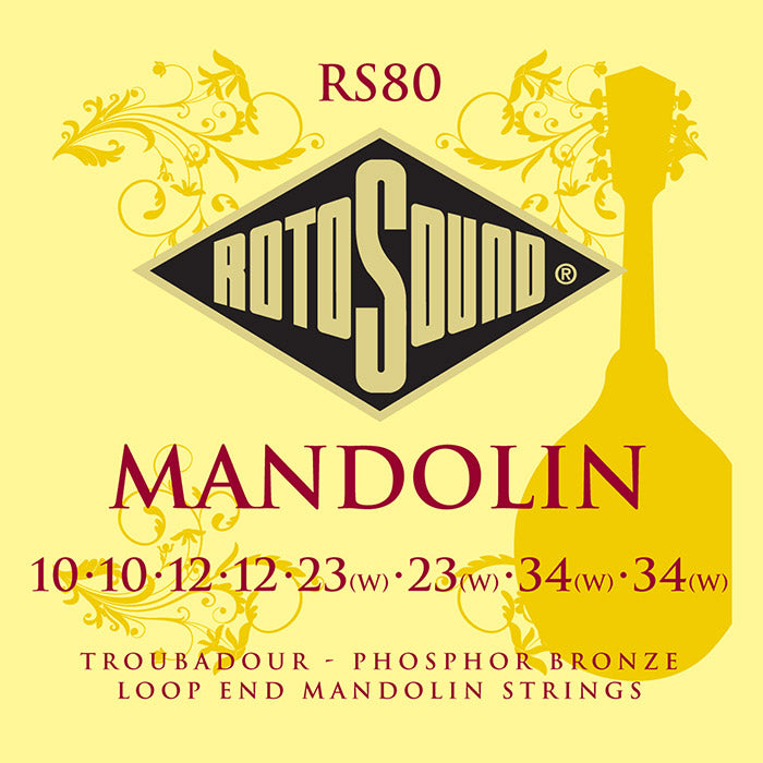 Rotosound Phosphor Bronze Troubadour Mandolin 8 String loop end set 10-34 RS80