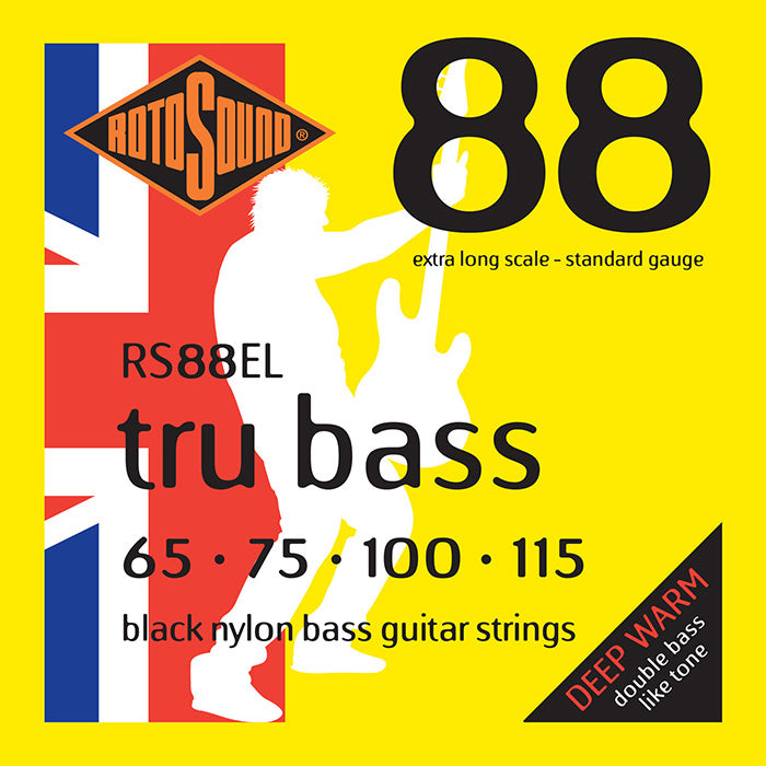 Rotosound Tru Bass 88 Black Nylon Flatwound Extra Long Scale 4 String 65-115