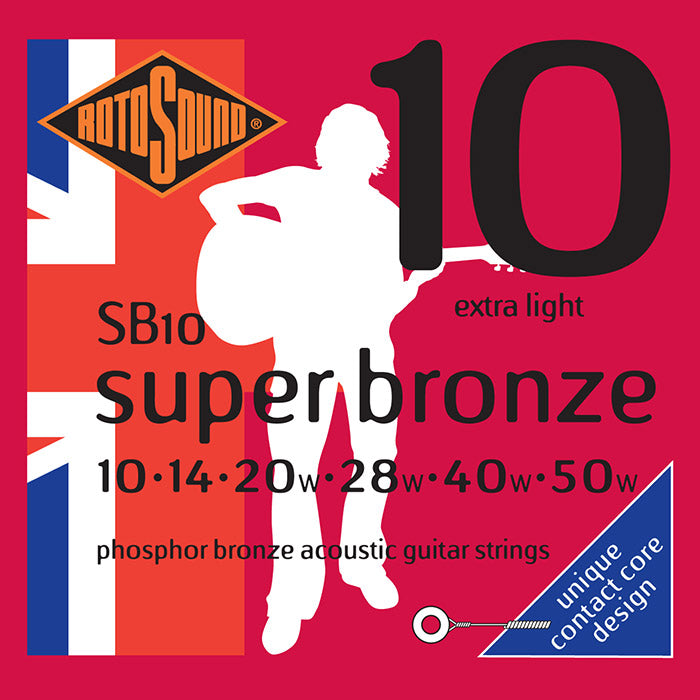 Rotosound Phosphor Bronze Acoustic Guitar Strings, Extra Light 10-50 SB10