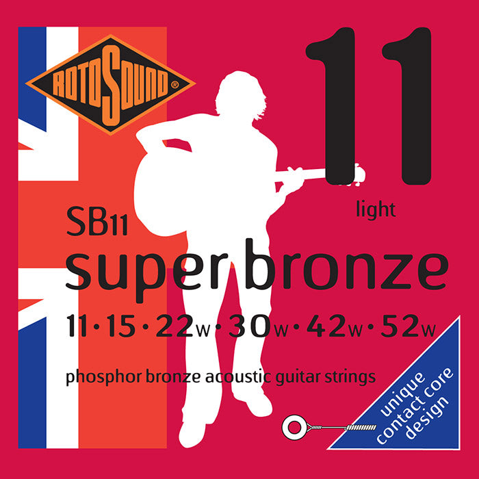 Rotosound Phosphor Bronze Acoustic Guitar Strings, Light 11-52 SB11