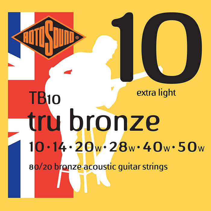 Rotosound Tru Bronze Brass Coated Extra Light Acoustic Guitar Strings 10-50 TB10