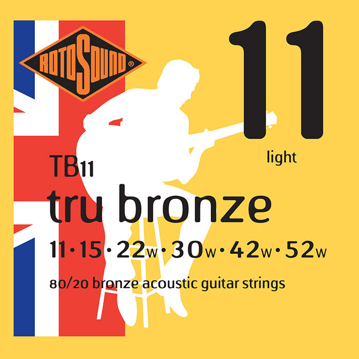 Rotosound Tru Bronze Brass Coated Light Acoustic Guitar Strings 11-52 TB11