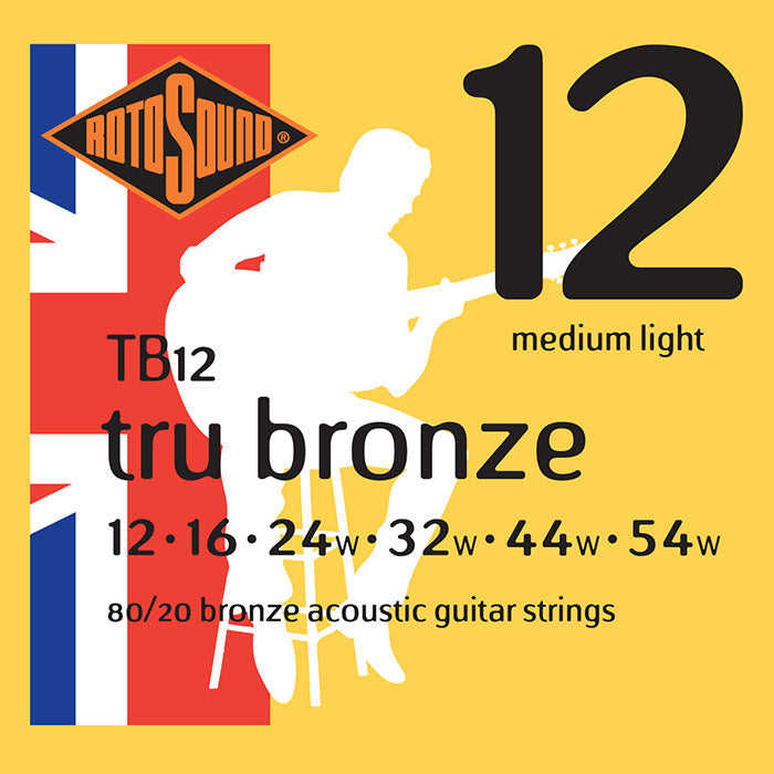 Rotosound Tru Bronze Brass Coated Medium Light Acoustic Guitar Strings 12-54