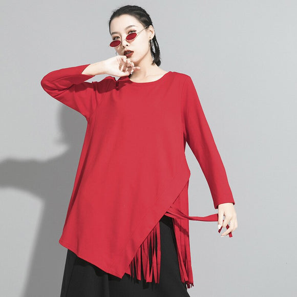 Women Black Hem Tassels Stitch Temperament T-shirt