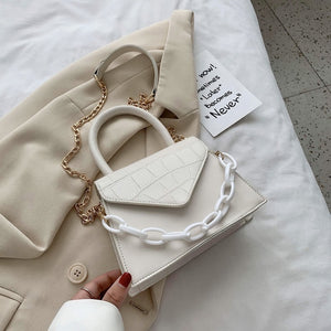 Stone Pattern Chain PU Leather Crossbody Bag