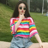 2020 new T-shirt ladies rainbow striped top