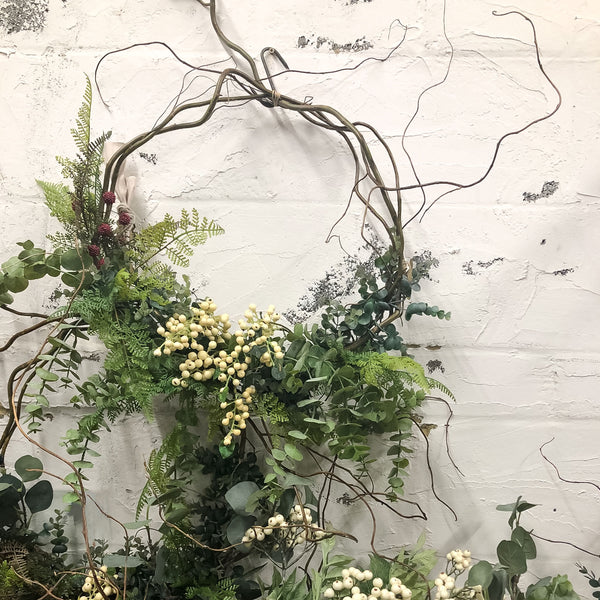 Faux Eucalyptus and White Berry Everlasting Wreath
