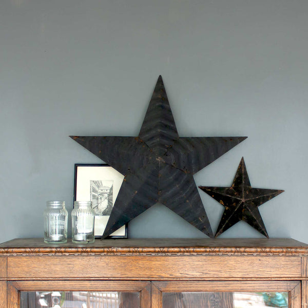 Extra Large Vintage Black Amish Barn Star