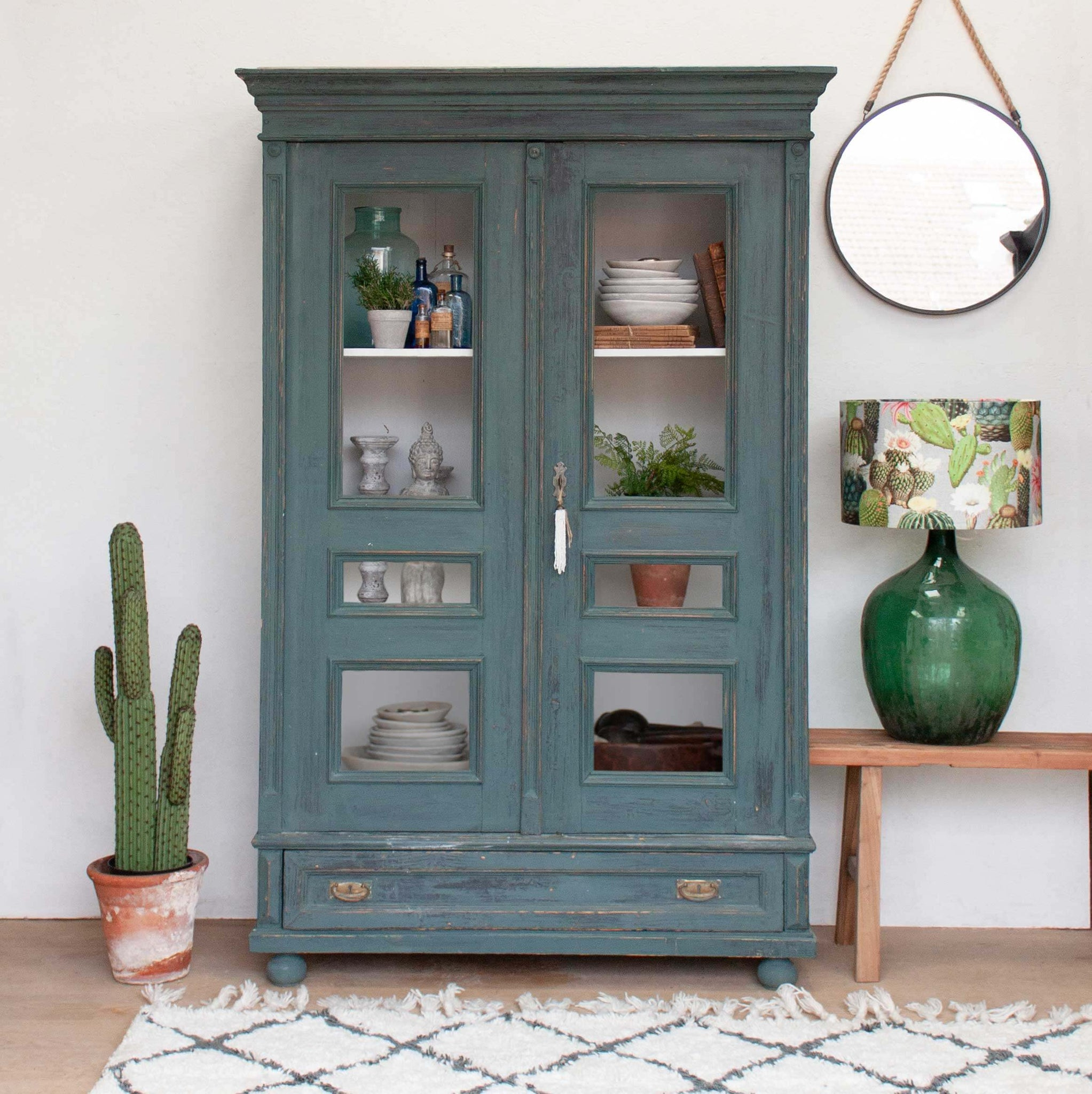 Vintage Blue Display Cabinet