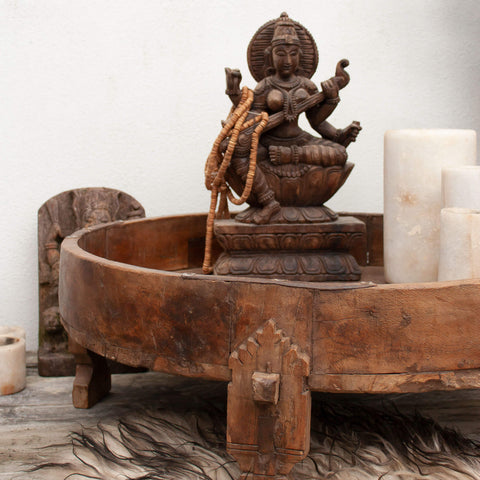 Indian Carved Chakki table