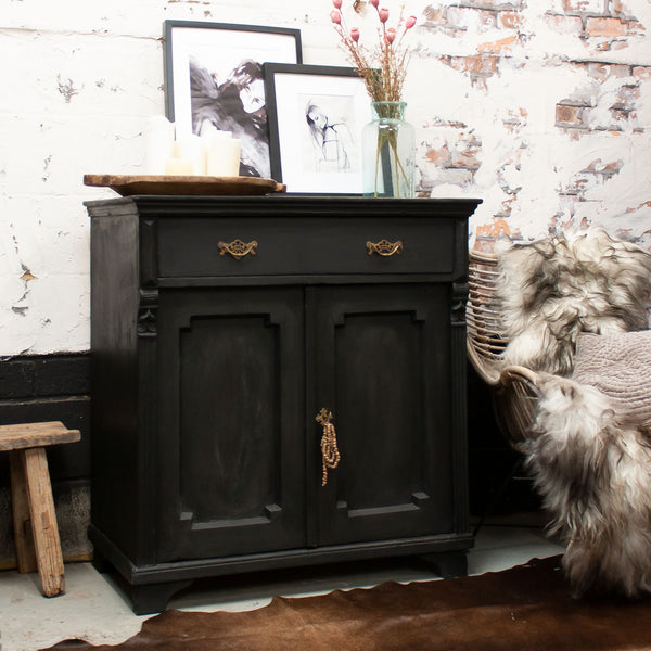 Vintage Black Wooden Cupboard